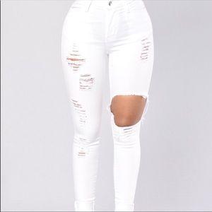 Fashion Nova High Waisted Jeans White Ripped